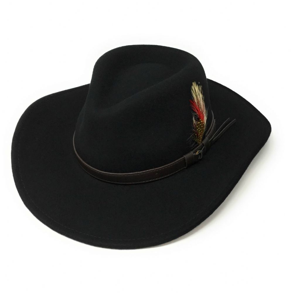 Fedora Crushable Safari Cowboy Hat with Removable Feather - Black